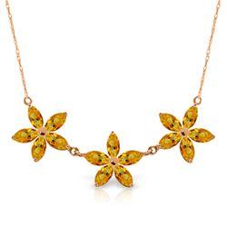 Genuine 4.2 ctw Citrine Necklace Jewelry 14KT Rose Gold - REF-60H7X