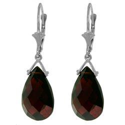 Genuine 10.20 ctw Garnet Earrings Jewelry 14KT White Gold - REF-39P2H