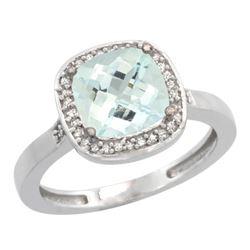 Natural 3.94 ctw Aquamarine & Diamond Engagement Ring 14K White Gold - REF-61G3M