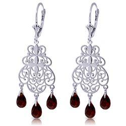 Genuine 3.75 ctw Garnet Earrings Jewelry 14KT White Gold - REF-58K3V