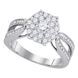 1 CTW Flower Cluster Diamond Bridal Wedding Engagement Ring 14k White Gold - REF-132W2K