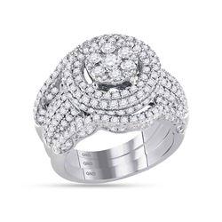 2.45 CTW Diamond Cluster Bridal Engagement Ring 14KT White Gold - REF-254N9F