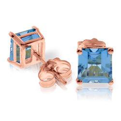 Genuine 1.75 ctw Blue Topaz Earrings Jewelry 14KT Rose Gold - REF-24V3W