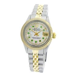 Rolex Pre-owned 26mm Womens Custom String White Mother of Pearl Two Tone - REF-460Y3W