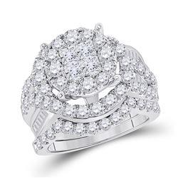 3.01 CTW Princess Diamond Soleil Bridal Engagement Ring 14KT White Gold - REF-299Y9X