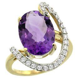 Natural 5.89 ctw Amethyst & Diamond Engagement Ring 14K Yellow Gold - REF-91F4N