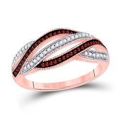 0.25 CTW Red Color Diamond Fashion Ring 10KT Rose Gold - REF-30H2M