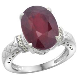 Natural 5.53 ctw Ruby & Diamond Engagement Ring 14K White Gold - REF-67A6V