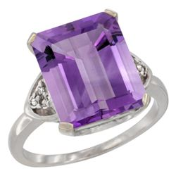 Natural 5.44 ctw amethyst & Diamond Engagement Ring 10K White Gold - REF-32V2F