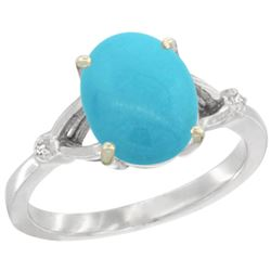 Natural 2.41 ctw Turquoise & Diamond Engagement Ring 14K White Gold - REF-40Z6Y