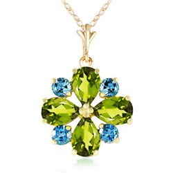 Genuine 2.43 ctw Peridot & Blue Topaz Necklace Jewelry 14KT Yellow Gold - REF-29N7R