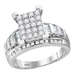 1.5 CTW Diamond Cluster Bridal Engagement Ring 10KT White Gold - REF-104Y9X