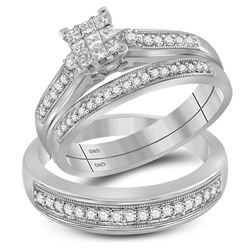 0.56 CTW His & Hers Princess Diamond Matching Bridal Ring 10KT White Gold - REF-59M9H