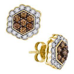 0.90 CTW Cognac-brown Color Diamond Hexagon Flower Earrings 10KT Yellow Gold - REF-41H9M