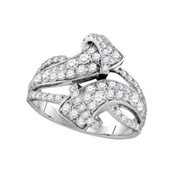1.5 CTW Pave-set Diamond Bypass Strand Ring 14KT White Gold - REF-134N9F