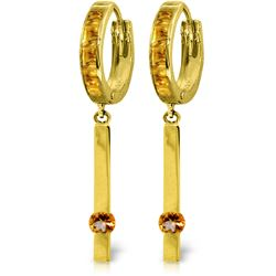 Genuine 1.35 ctw Citrine Earrings Jewelry 14KT Yellow Gold - REF-66H2X