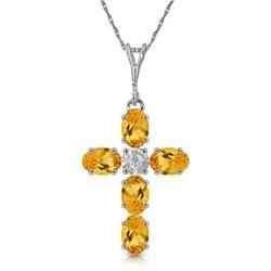 Genuine 1.88 ctw Citrine & Diamond Necklace Jewelry 14KT White Gold - REF-39Z8N