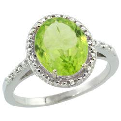 Natural 2.8 ctw Peridot & Diamond Engagement Ring 10K White Gold - REF-30K3R