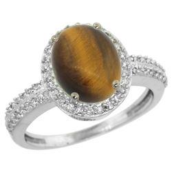 Natural 2.56 ctw Tiger-eye & Diamond Engagement Ring 14K White Gold - REF-39A7V