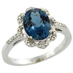 Natural 1.85 ctw London-blue-topaz & Diamond Engagement Ring 10K White Gold - REF-29N7G
