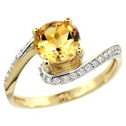 Natural 0.99 ctw citrine & Diamond Engagement Ring 10K Yellow Gold - REF-42N2G