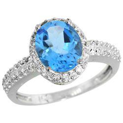 Natural 1.91 ctw Swiss-blue-topaz & Diamond Engagement Ring 14K White Gold - REF-41X3A