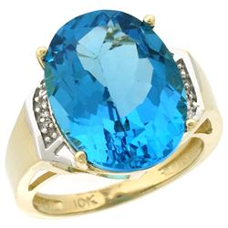 Natural 11.02 ctw Swiss-blue-topaz & Diamond Engagement Ring 14K Yellow Gold - REF-65M8H
