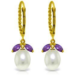 Genuine 9 ctw Amethyst & Pearl Earrings Jewelry 14KT Yellow Gold - REF-39X3M