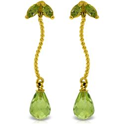 Genuine 3.4 ctw Peridot Earrings Jewelry 14KT Yellow Gold - REF-21F6Z