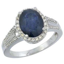 Natural 2.72 ctw blue-sapphire & Diamond Engagement Ring 10K White Gold - REF-105K2R