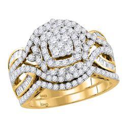 1.48 CTW Diamond Bridal Wedding Engagement Ring 14KT Yellow Gold - REF-146M9H