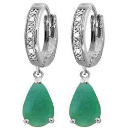 Genuine 2.03 ctw Emerald & Diamond Earrings Jewelry 14KT White Gold - REF-69V7W