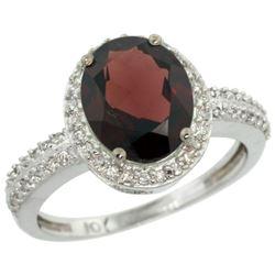 Natural 2.56 ctw Garnet & Diamond Engagement Ring 10K White Gold - REF-35H9W