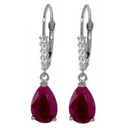 Genuine 3.15 ctw Ruby & Diamond Earrings Jewelry 14KT White Gold - REF-52X3M