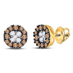 0.33 CTW Cognac-brown Color Diamond Cluster Stud Earrings 10KT Yellow Gold - REF-16K4W