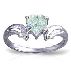 Genuine 0.96 ctw Aquamarine & Diamond Ring Jewelry 14KT White Gold - REF-44Z3N