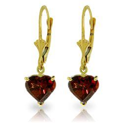 Genuine 3.05 ctw Garnet Earrings Jewelry 14KT Yellow Gold - REF-29H7X