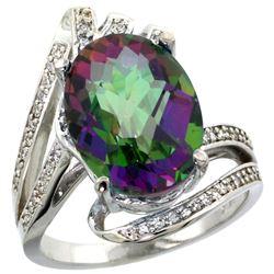 Natural 5.76 ctw mystic-topaz & Diamond Engagement Ring 14K White Gold - REF-92F7N