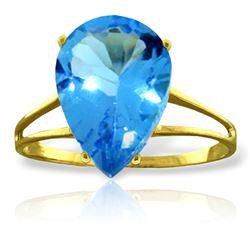 Genuine 5 ctw Blue Topaz Ring Jewelry 14KT Yellow Gold - REF-34V3W