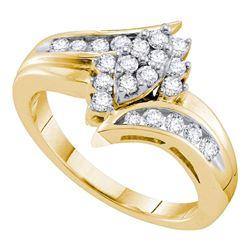 0.50 CTW Diamond Cluster Ring 14KT Yellow Gold - REF-64W4K