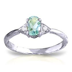 Genuine 0.46 ctw Aquamarine & Diamond Ring Jewelry 14KT White Gold - REF-23T5A