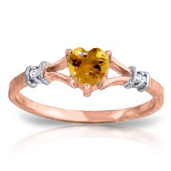 Genuine 0.47 ctw Citrine & Diamond Ring Jewelry 14KT Rose Gold - REF-27H2X