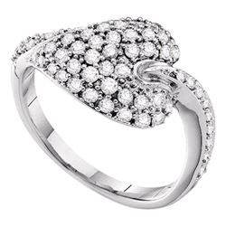 0.67 CTW Diamond Leaf Cluster Ring 14KT White Gold - REF-67Y4X