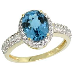 Natural 1.91 ctw London-blue-topaz & Diamond Engagement Ring 10K Yellow Gold - REF-32K4R