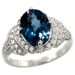Natural 2.92 ctw london-blue-topaz & Diamond Engagement Ring 14K White Gold - REF-103R2Z