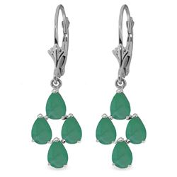 Genuine 4.5 ctw Emerald Earrings Jewelry 14KT White Gold - REF-63F8Z