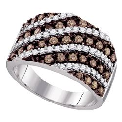 1.3 CTW Cognac-brown Color Diamond Ring 10KT White Gold - REF-87F2N