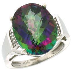 Natural 11.02 ctw Mystic-topaz & Diamond Engagement Ring 14K White Gold - REF-65K8R