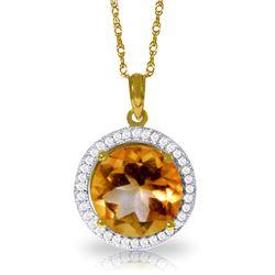 Genuine 6.2 ctw Citrine & Diamond Necklace Jewelry 14KT Yellow Gold - REF-70P6H