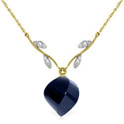 Genuine 15.27 ctw Sapphire & Diamond Necklace Jewelry 14KT Yellow Gold - REF-46A7K
